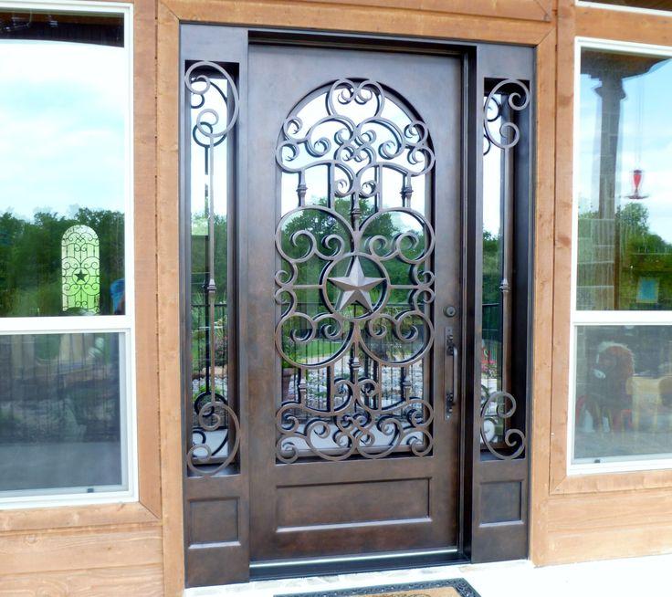 Custom Texas star wrought iron door + sidelites. aaleadedglass.com & 60 best Wrought Iron Doors images on Pinterest | Wrought iron ... pezcame.com