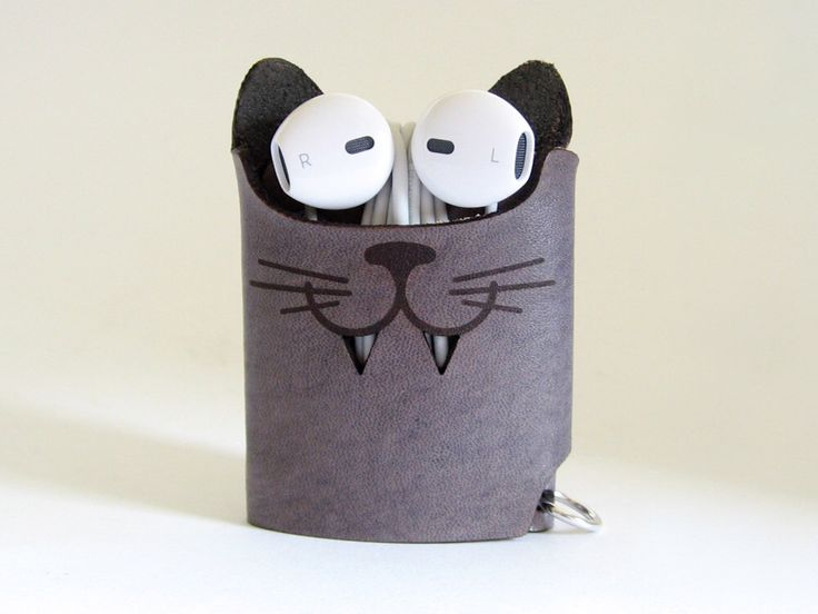 Gray Leather Cat Earphone Case - The Case with a Face - Leather Earphone Case / Earpod Case / Earphone Wrap / Earbud Organizer by aspiecraft on Etsy https://www.etsy.com/listing/245858486/gray-leather-cat-earphone-case-the-case
