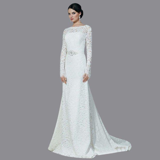 Awesome Backless Long sleeve Vestido De Noiva Manga Longa Wedding Dresses Lace Appliques Ribbons Floor Length