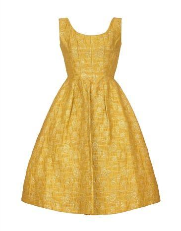 1950s Frank Usher Gold Brocade Dress Size 10