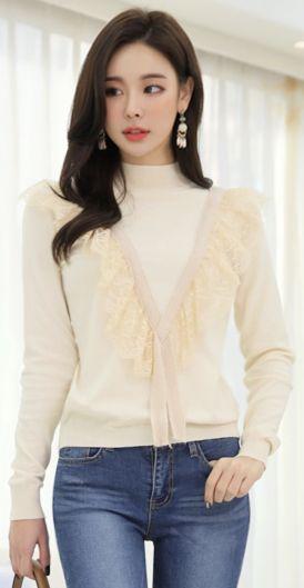 StyleOnme_V-Line Lace Trim Tee #ivory #lace #tee #koreanfashion #kstyle #kfashion #dailylook #feminine #seoul