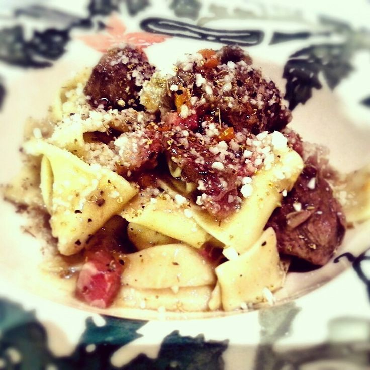 Homemade pappardelle pasta served with venison ragu,  wild fennel flowers and pecorino cheese.
