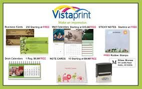 Free Promotional Vistaprint Sample Kit To request your FREE kit, simply register by providing your email and address where you'd like to receive your free sample Your sample kit includes 14 product samples, including: Promotional Standard and Deluxe Business Cards - Special Finish Business Cards - Invitations & Announcements - Letterhead & Envelope and Flyers