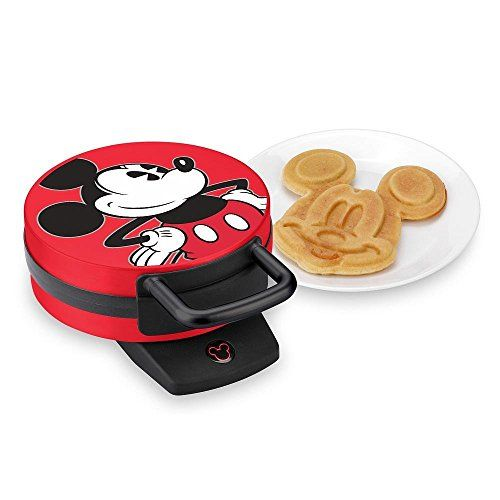 DISNEY MICKEY MOUSE WAFFLE IRON RED AND BLACK This Mickey Mouse waffle maker is a must have item for your kitchen!