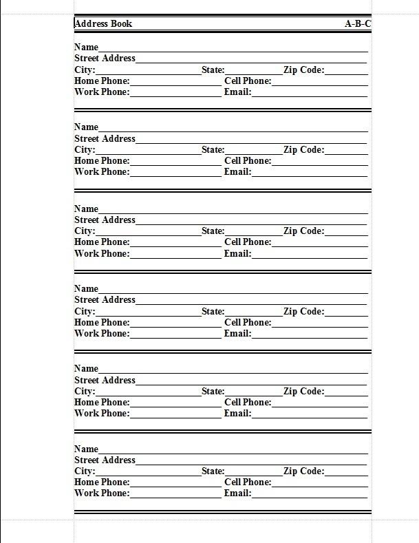 free address book template