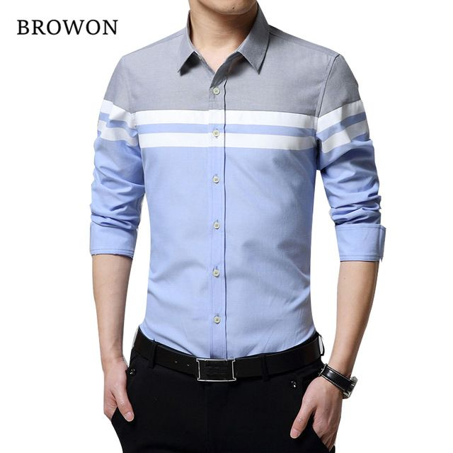 5d8294e021 2018 Fashion Mens Shirts Brand Clothing Slim Fit Patchwork Stripe Clothes  Male Long Sleeve Shirt for Men Camiseta Male Review