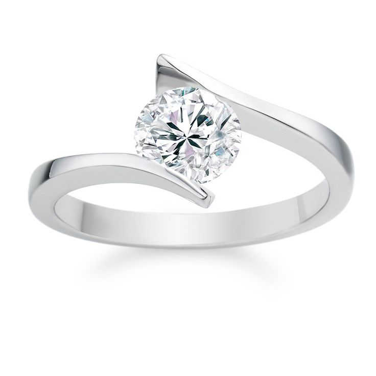 Twisted design engagement ring with round center diamond