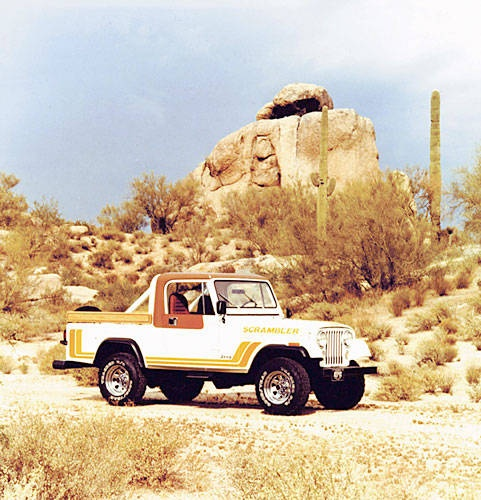 The Jeep Scrambler was introduced in 1987. It was similar to the Jeep CJ-7 but with a longer wheelbase. The Scrambler is known internationally as the CJ-8.