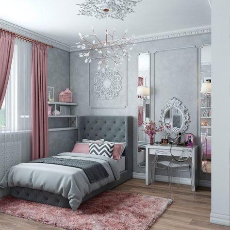 Chambre Ado Fille Moderne Déco Gris Et Rose #interiors