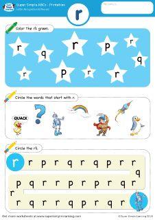 Lowercase letter r alphabet worksheet from Super Simple Learning. #preschool #phonics