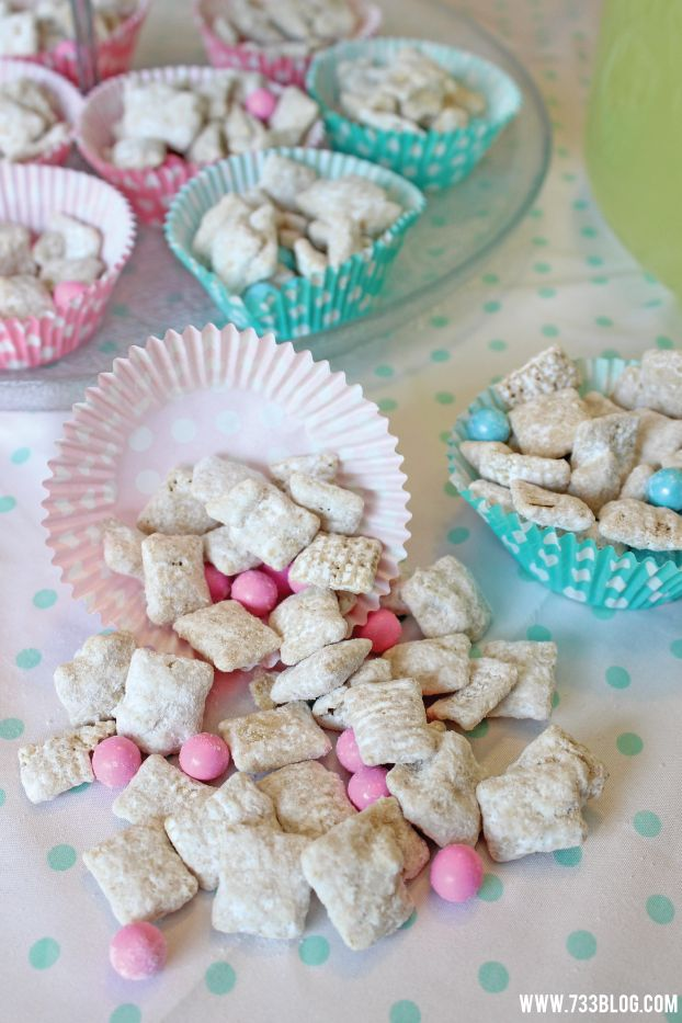 Pink and Blue Muddy Buddies with a Party Pack Giveaway - seven thirty three