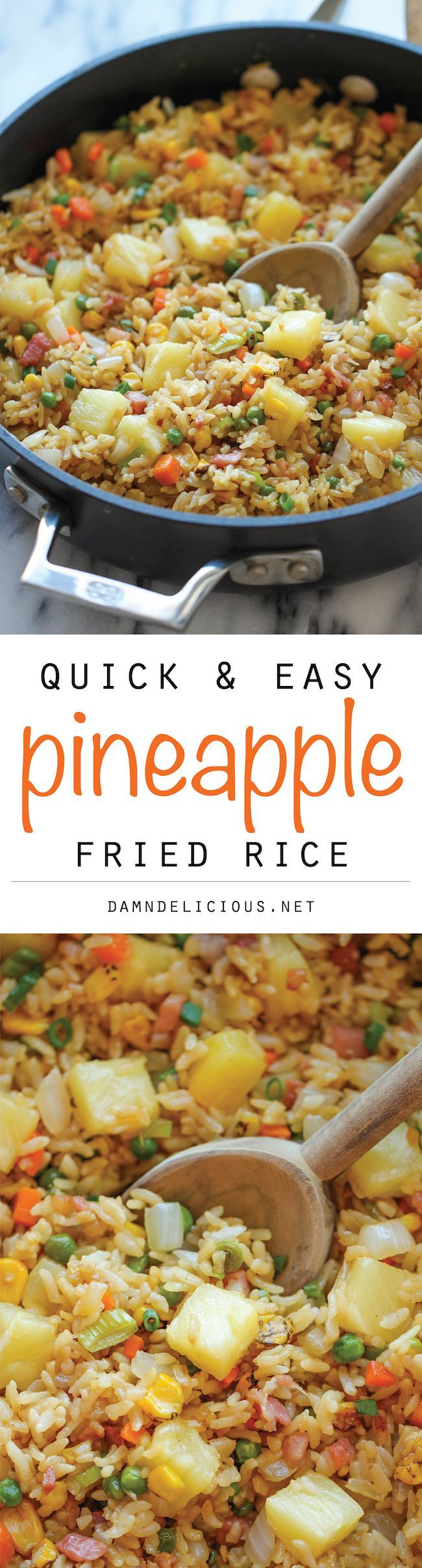 Pineapple Fried Rice ~ A quick and easy weeknight meal that's so much cheaper, tastier and healthier than take-out!