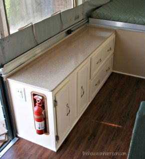 Pop Up Camper Remodel-this is amazing way to redo countertops.