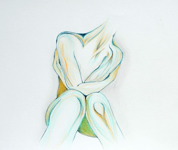 "Summer Hug  Size: 8"" x 8"" colored pencil on Paper.  I think colored pencil can cool down the heat of the summer."