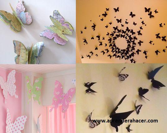 Aprender a Hacer - Manualidades para niños | Mariposas con papel ...