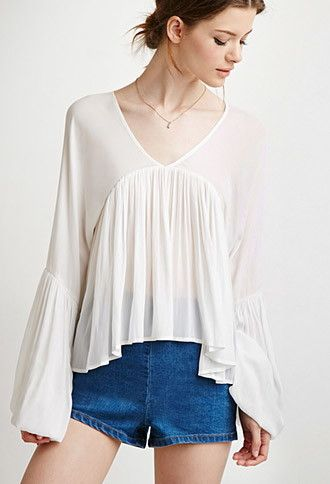 Contemporary Shirred Trumpet-Sleeve Top | Forever 21 - 2002247830