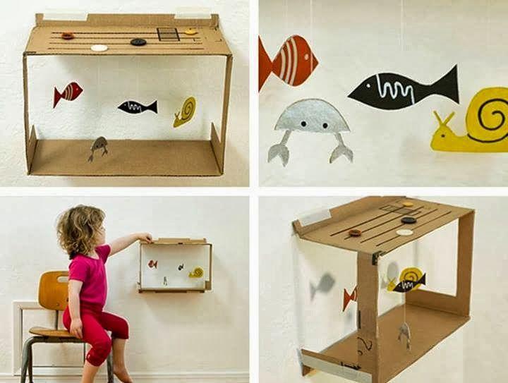Aquela caixa de papelão se transforma num divertido aquário.         Biosustentavel