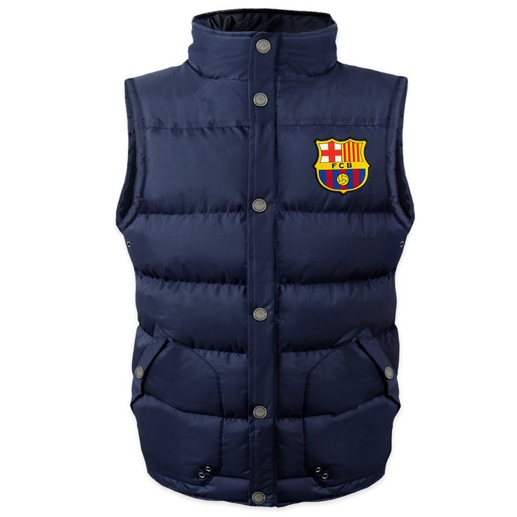 """FC Barcelona Official Soccer Gift Boys Padded Body Warmer Gilet 12-13 Years. Official FCB boys padded gilet in navy blue. Full colour woven club crest to chest; zip fastening; studded pockets to front. Garment Size (Chest): 6-7yrs 34""""; 8-9yrs 37""""; 10-11yrs 39""""; 12-13yrs 42"""". Superb quality gift item; 100% polyester. Many more gift ideas for him @ FootballShopOnline."""