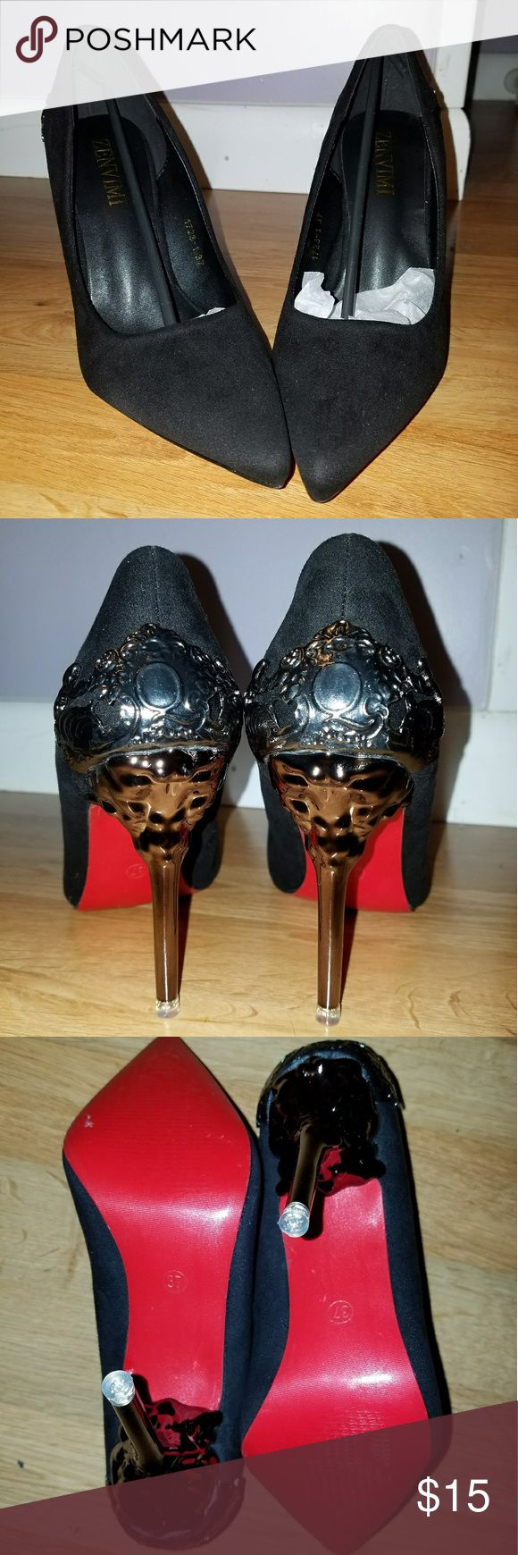Black High Heels with red bottoms. New, never worn. Beautiful detail on the back of the shoe. Red bottom, 3 inch heel. Still in box. Fancy shoes for a fancy night out!! it's a size 37:China but 6:US Zenvimi Shoes Heels