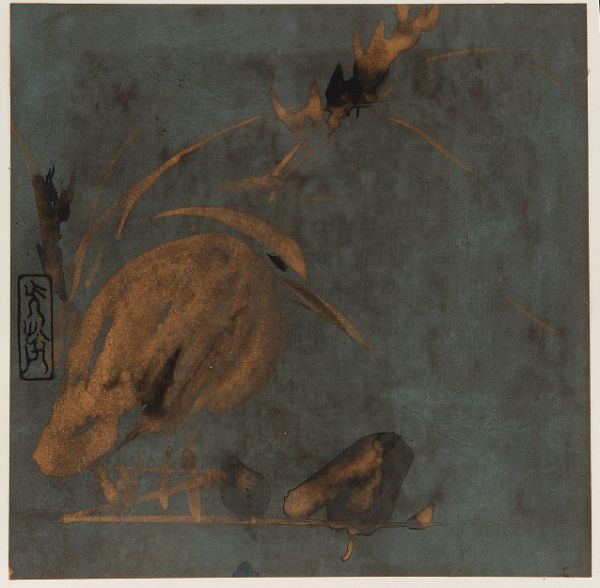 Heron and reeds   Poetry sheet (shikishi) MAKER(S) Artist: Attributed to Hon'ami Kōetsu 本阿弥光悦 (1558-1637)  Edo period, early 17th century