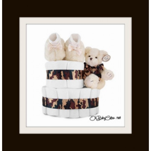 Oh soooo dreamy! Make a fashion statement with this camo couture diaper cake! Whether you are a lifelong Fashionista in love with camo fashion or a military wife honoring national pride, this glamorous camouflage cake will hit the right mark! This diaper cake includes 35 Level 1 Pampers Swaddlers adorned with an elegant camouflage silk ribbon and topped with adorable Bearington Collection Creme de la Creme Booties.