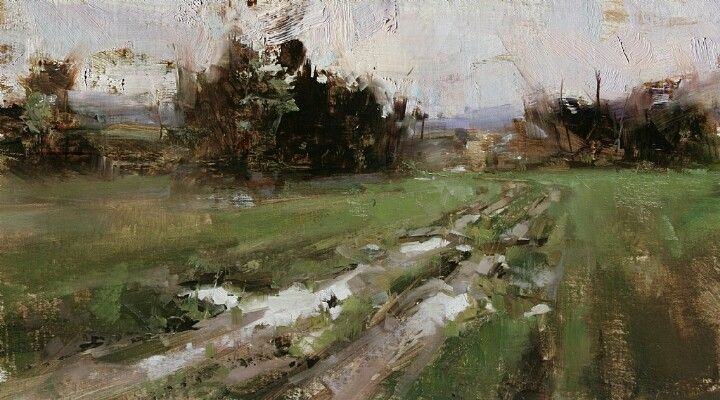 Tibor Nagy - oil painting - landscape, field, ditch, puddle, tree, grass