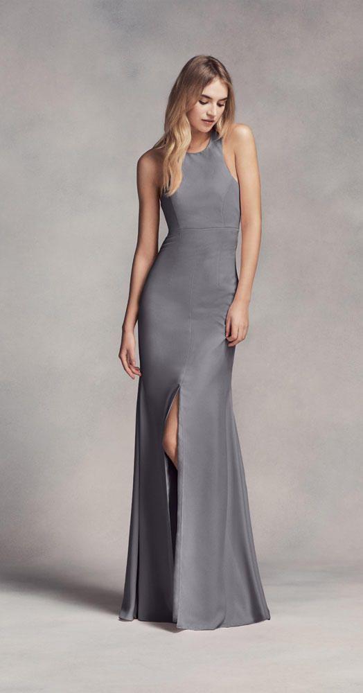 grey bridesmaid dress by White by Vera Wang