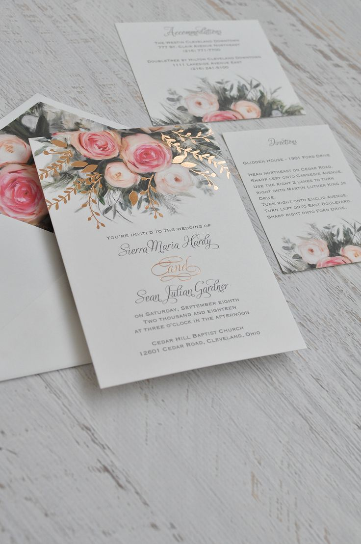 An ethereal illustration of watercolor roses in pink creates the peaceful nature of these beautiful garden wedding invitations. The rose gold foil stamping takes it to the next level. 100% beautiful invitation!