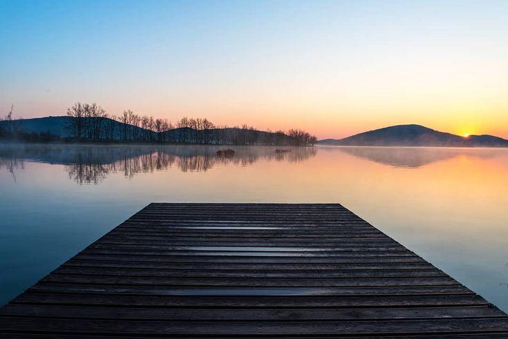 Visit Greece | Enjoy a majestic sunrise in Lake Plastira!   #VisitGreece #Greece #Karditsa #Lake
