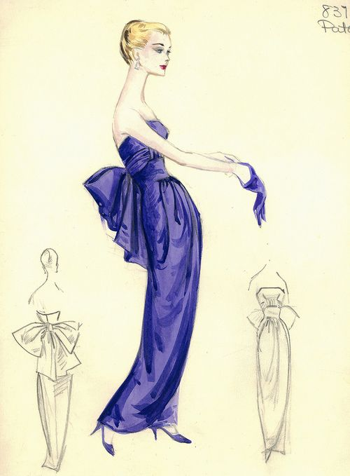 theniftyfifties:        Evening gown sketch by Jean Patou for Bergdorf Goodman, 1950s.