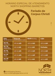 Confira o horário especial de atendimento do North Shopping Barretos para o Feriado de Corpus Christi