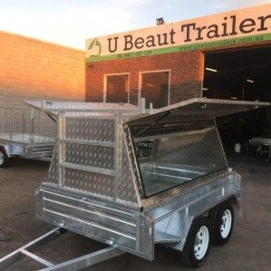 8×5 Tandem Tradesman Trailer Aluminium Tradie, Compressor box can be added just ask for quote. Features, FREE jockey wheel, Heavy duty Hot dipped galvanised 400mm deep side trailer with 2.5mm Alloy checkerplate tradie top, Tradesman top 900mm high with internal shelf, Flush locks with rubber seal, H-bars. For any query call us Ph: 03-9708 2691, Mobile: 0417 057 129 U Beaut Trailers, 13 Rutherford Road, Seaford Vic. 3198, Australia and visit at…