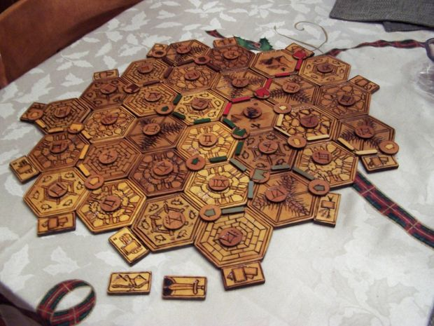 Picture of Wood Burned Settlers of Catan Board