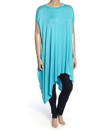 This Aqua Cape-Sleeve Tunic - Plus is perfect! #zulilyfinds
