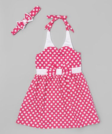 Look at this #zulilyfind! Pink Retro Halter Dress - Toddler & Girls #zulilyfinds