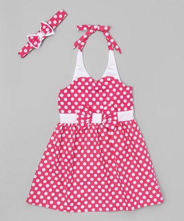 Look at this #zulilyfind! Pink Retro Halter Dress - Toddler & Girls #zulilyfinds
