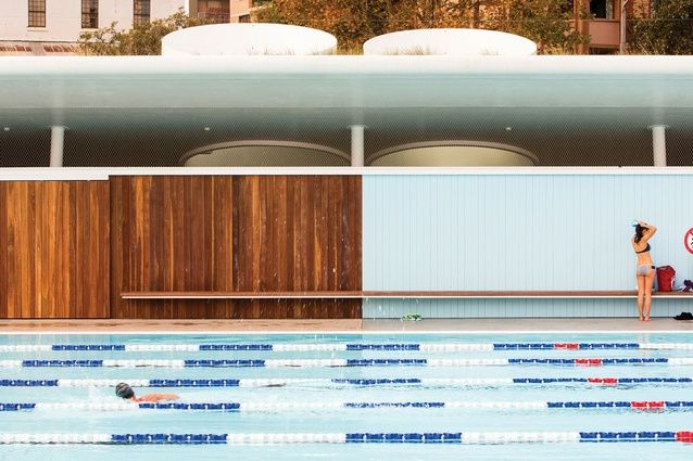 Prince Alfred Park Pool - gorgeous combination of blues and timber.  The low, cantilevered bench accentuates the linear form of the building as do the lane ropes.