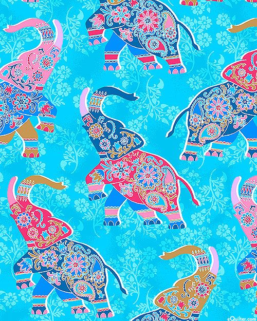 Bombay - Prancing Elephants - Quilt Fabrics from www.eQuilter.com