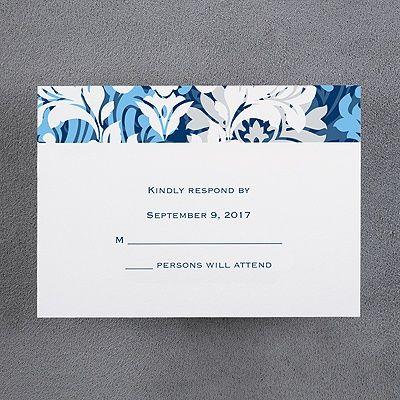 Beautiful Colors   Wedding Respond Card And Envelope   Navy An Elegant  Floral Design Beautifies Both