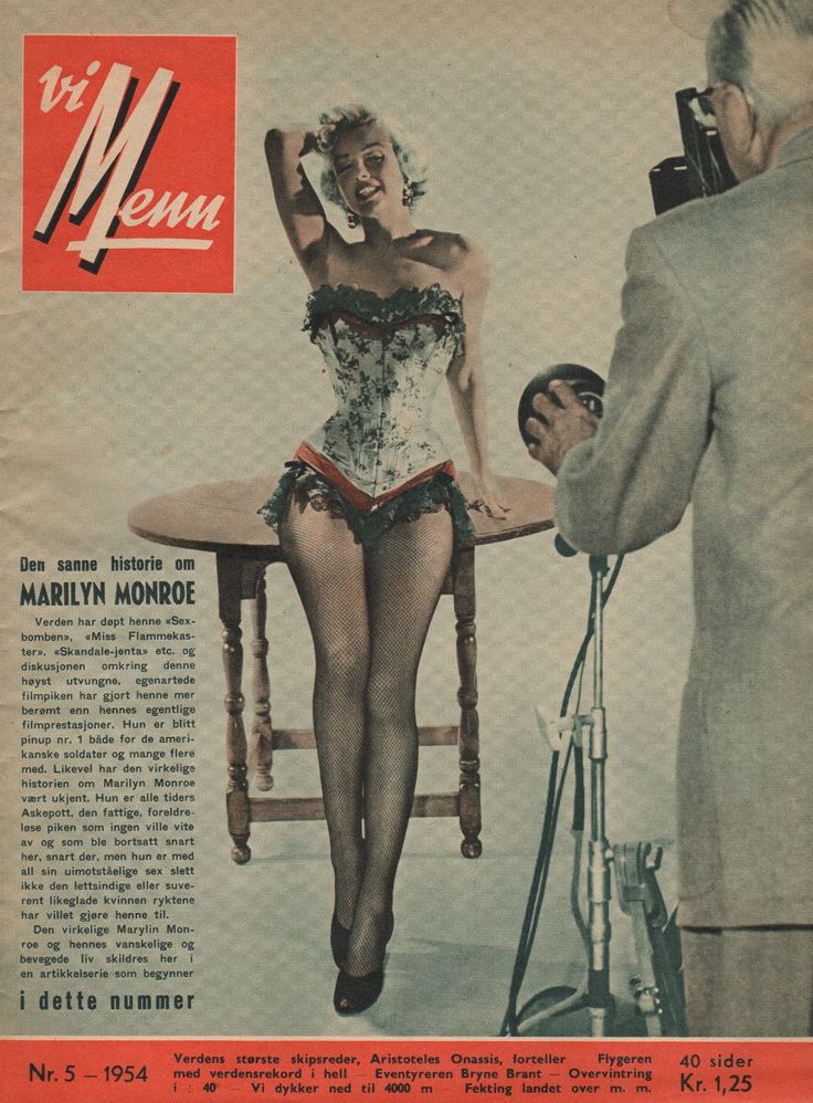 "Vi Menn - No.5, 1954, magazine from Norway. Front cover photo of Marilyn Monroe in a publicity shoot for ""River of No Return"", 1953."