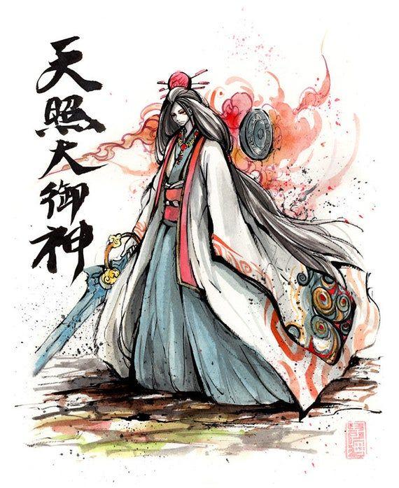 Canvas Print Of Amaterasu Omikami Okami With Japanese Calligraphy