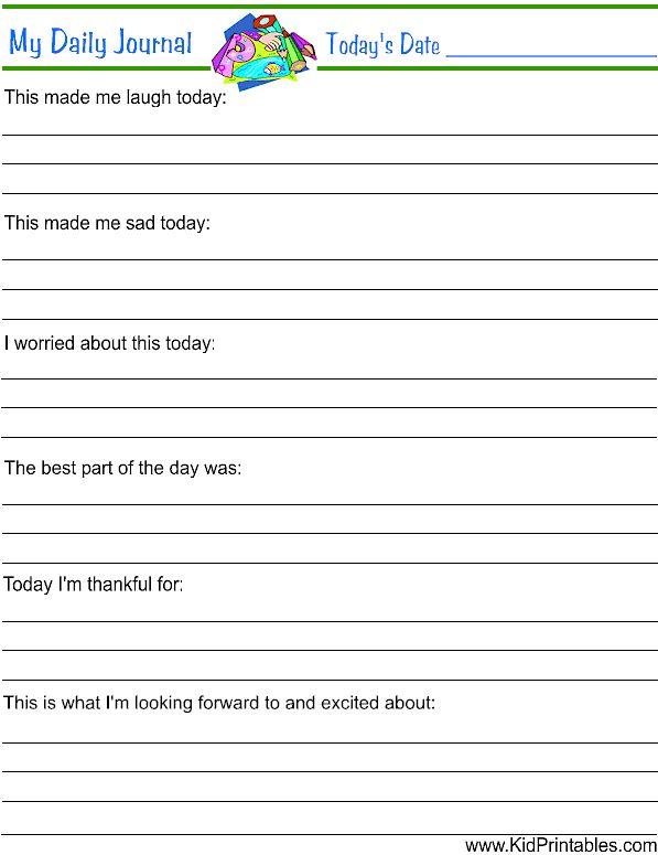 printable daily journal for kids   Fun Kid Printables ...