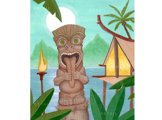 Tropical Tiki Torch Print 8x10 by Bob Holiday by BobHoliday