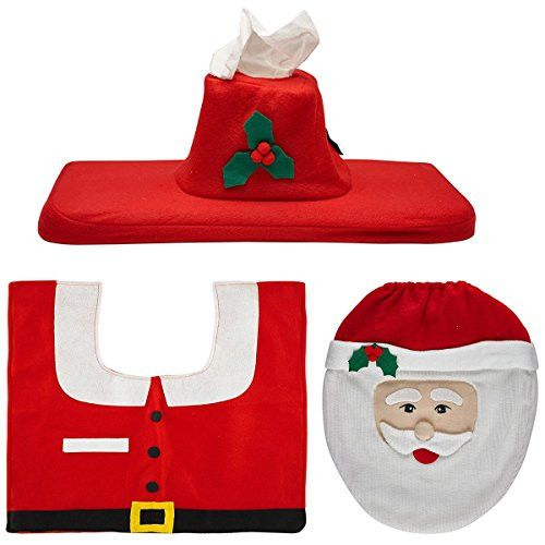 Genluna Christmas Decorations Santa Toilet Seat Cover and Rug Set One Size Red