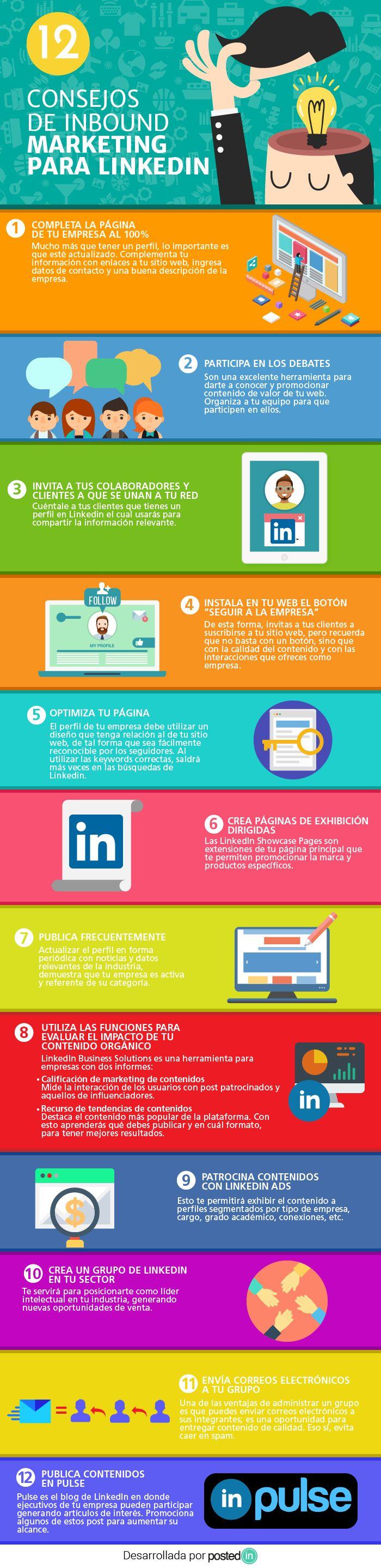 12 consejos de inbound marketing para LinkedIn #infografia