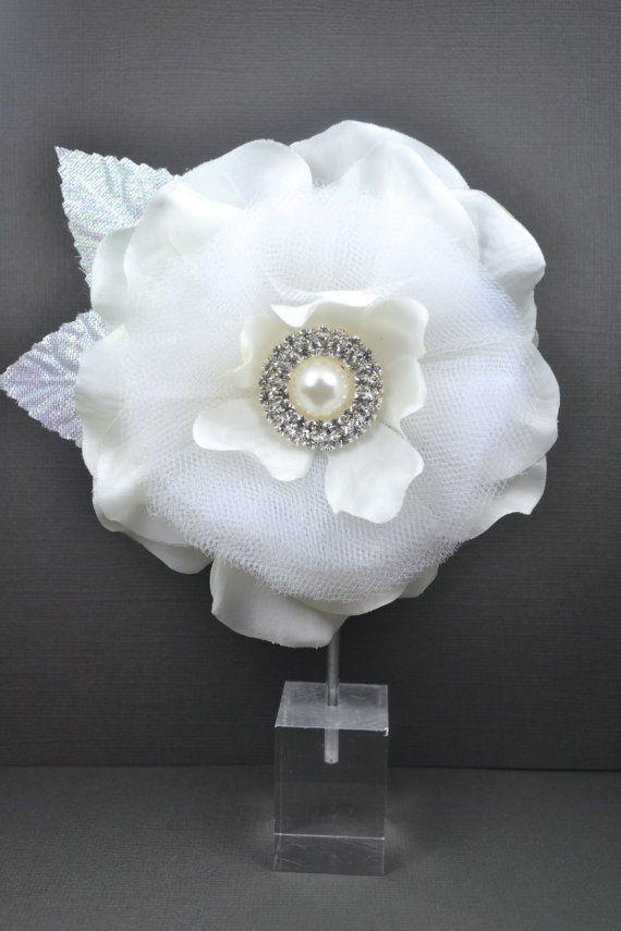Elegant Bridal Silk and Tulle Flower Hair by RomanceInSilverBride,