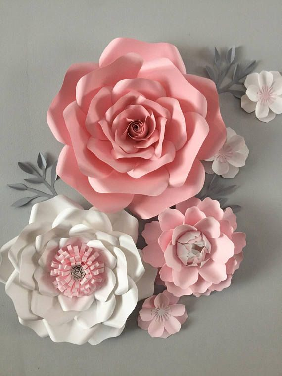 12 Piece Large Paper Flower Backdrop Wall Decor Pink Nursery Paper