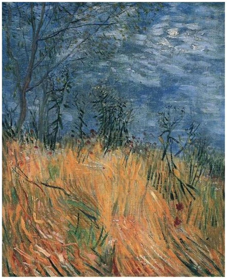 Vincent van Gogh: Edge of a Wheatfield with Poppies.   Oil on Canvas on Cardboard  Paris, France: Spring, 1887.  Private collection