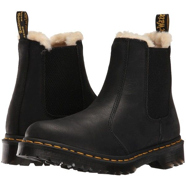 Dr. Martens Leonore (Black Burnished Wyoming) Women's Pull-on Boots ($145) ❤ liked on Polyvore featuring shoes, boots, leather boots, slip on boots, black slip-on shoes, leather upper boots and pull on boots