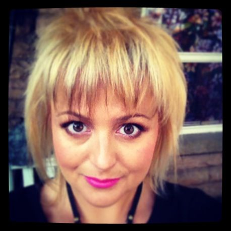 Blonde with piecey bangs
